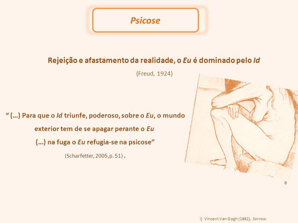 Rejeição e afastamento da realidade, o Eu é dominado pelo Id (Freud, 1924) Psicose (…) Para que o Id triunfe, poderoso, sobre o Eu, o mundo exterior tem de se apagar perante o Eu (…) na fuga o Eu refugia-se na psicose (Scharfetter, 2005,p.