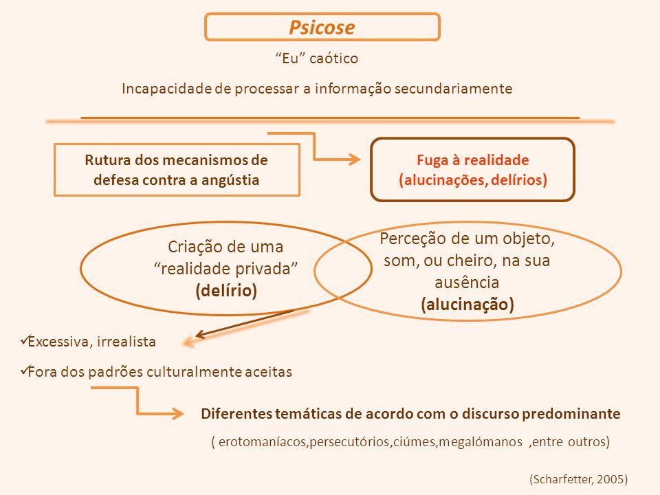 Eu caótico Incapacidade de processar a informação secundariamente Rutura dos mecanismos de defesa contra a angústia Fuga à realidade (alucinações, delírios) Criação de uma realidade privada (delírio) Excessiva, irrealista Fora dos padrões culturalmente aceitas (Scharfetter, 2005) Perceção de um objeto, som, ou cheiro, na sua ausência (alucinação) Psicose Diferentes temáticas de acordo com o discurso predominante ( erotomaníacos,persecutórios,ciúmes,megalómanos,entre outros)