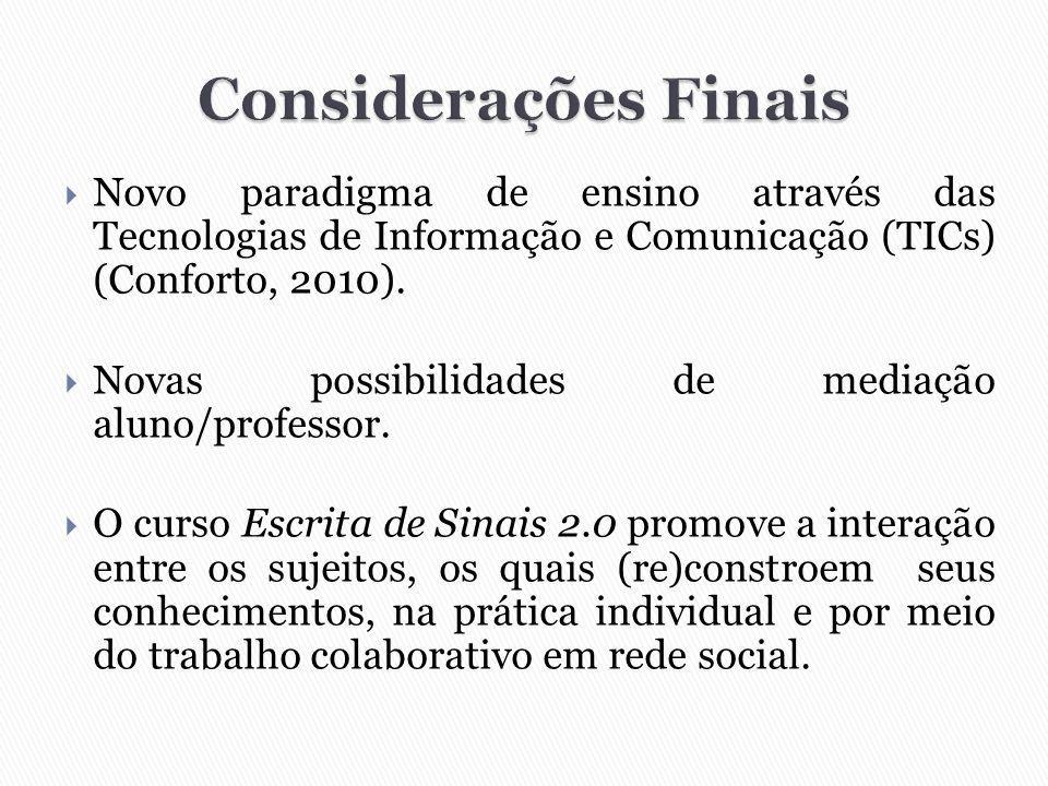  Novo paradigma de ensino através das Tecnologias de Informação e Comunicação (TICs) (Conforto, 2010).  Novas possibilidades de mediação aluno/profe