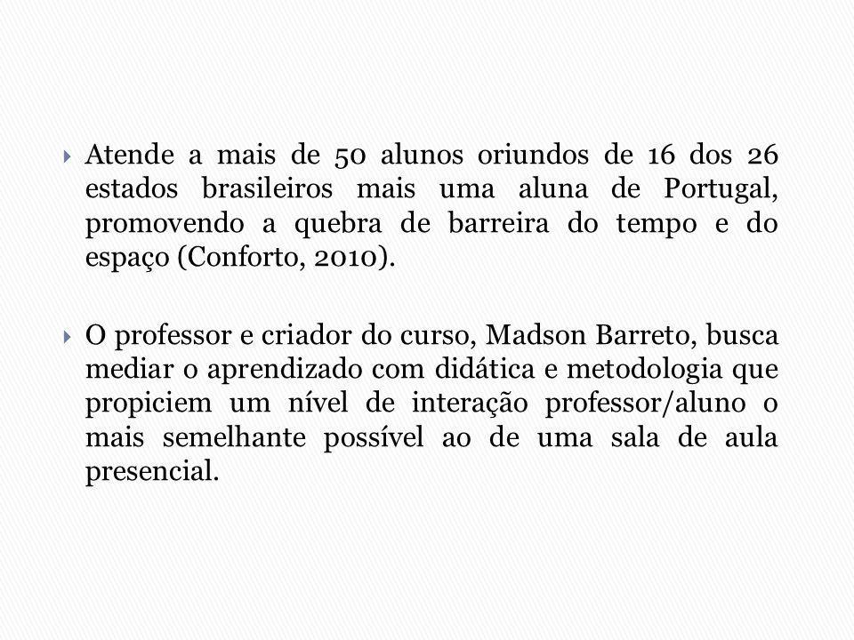  Atende a mais de 50 alunos oriundos de 16 dos 26 estados brasileiros mais uma aluna de Portugal, promovendo a quebra de barreira do tempo e do espaç