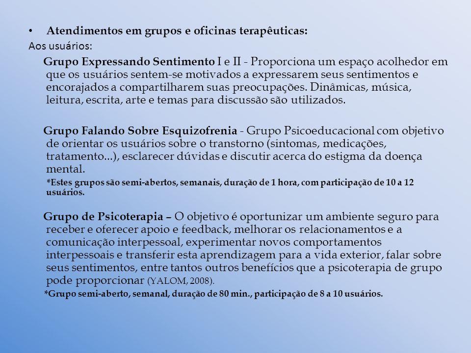 Atendimentos em grupos e oficinas terapêuticas: Aos usuários: Grupo Expressando Sentimento I e II - Proporciona um espaço acolhedor em que os usuários