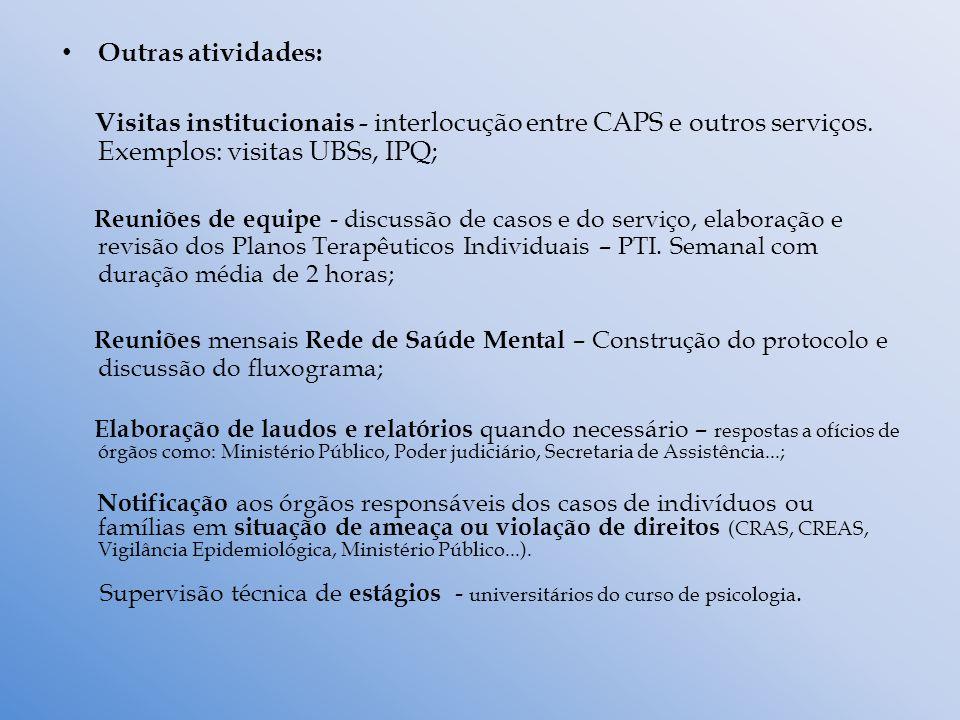 Outras atividades: Visitas institucionais - interlocução entre CAPS e outros serviços. Exemplos: visitas UBSs, IPQ; Reuniões de equipe - discussão de