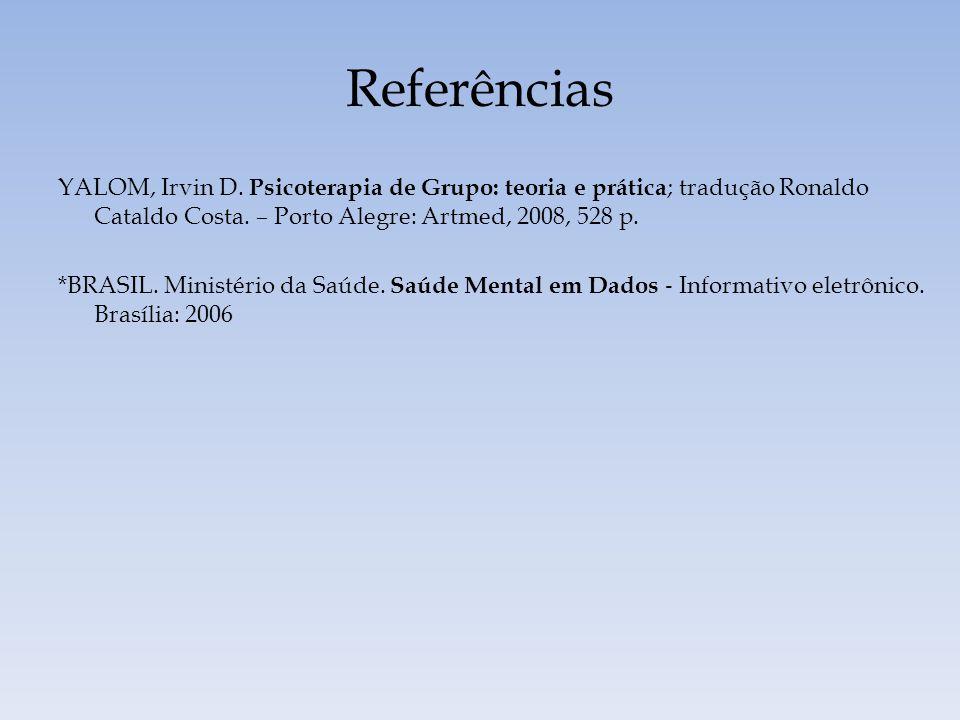 Referências YALOM, Irvin D. Psicoterapia de Grupo: teoria e prática ; tradução Ronaldo Cataldo Costa. – Porto Alegre: Artmed, 2008, 528 p. *BRASIL. Mi