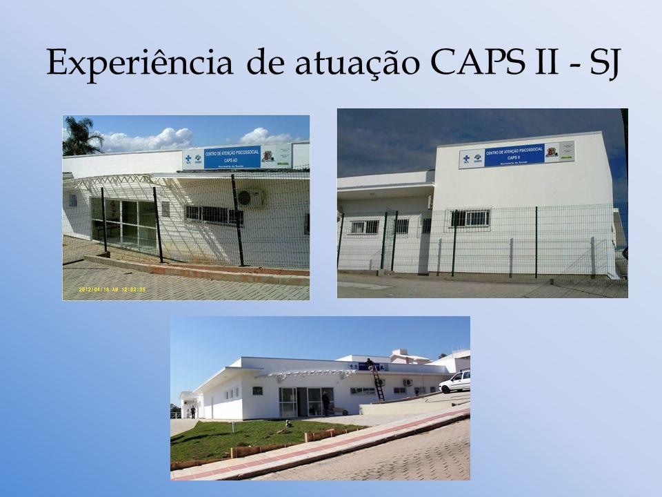 CAPS II de São José Equipe: 1 Coordenação Administrativa e 1 Coordenação Técnica; 1 Médico Psiquiatra; 1 Psicóloga; 1 Assistente Social; 1 Téc.