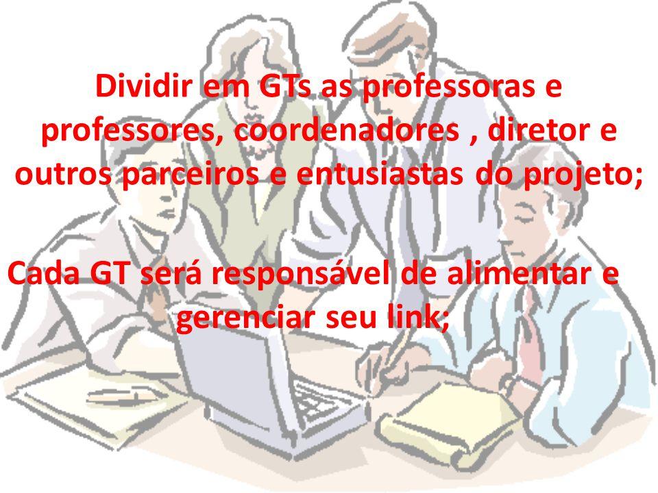Dividir em GTs as professoras e professores, coordenadores, diretor e outros parceiros e entusiastas do projeto; Cada GT será responsável de alimentar