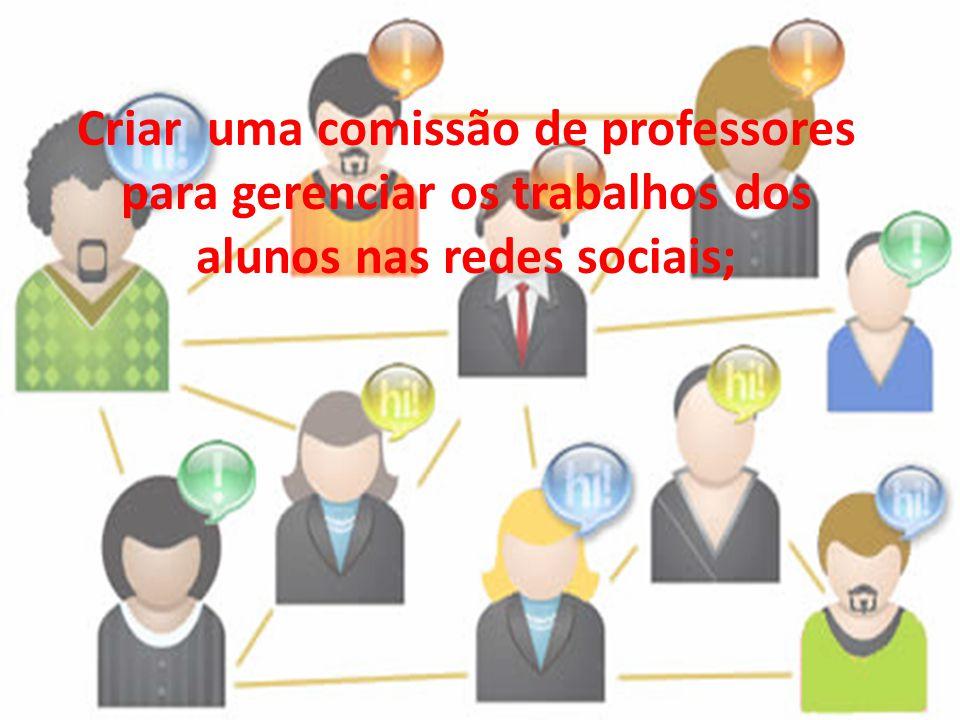 Criar uma comissão de professores para gerenciar os trabalhos dos alunos nas redes sociais;