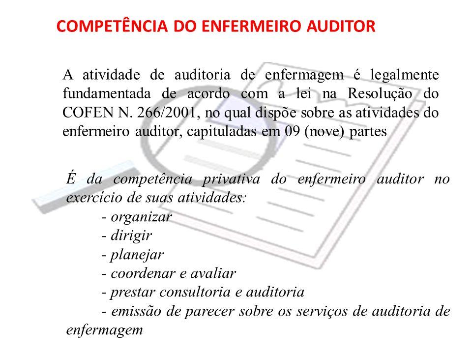 COMPETÊNCIA DO ENFERMEIRO AUDITOR A atividade de auditoria de enfermagem é legalmente fundamentada de acordo com a lei na Resolução do COFEN N. 266/20