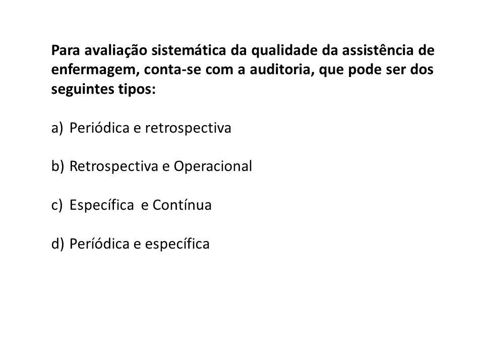 Para avaliação sistemática da qualidade da assistência de enfermagem, conta-se com a auditoria, que pode ser dos seguintes tipos: a)Periódica e retros