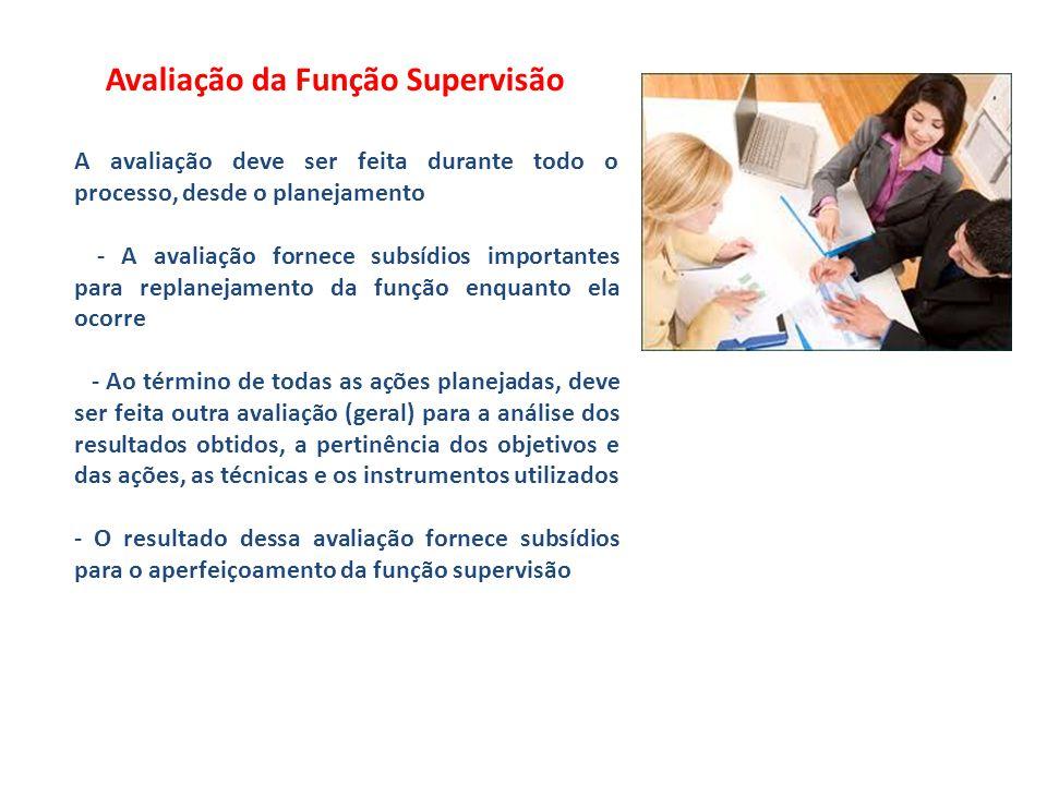 Avaliação da Função Supervisão A avaliação deve ser feita durante todo o processo, desde o planejamento - A avaliação fornece subsídios importantes pa