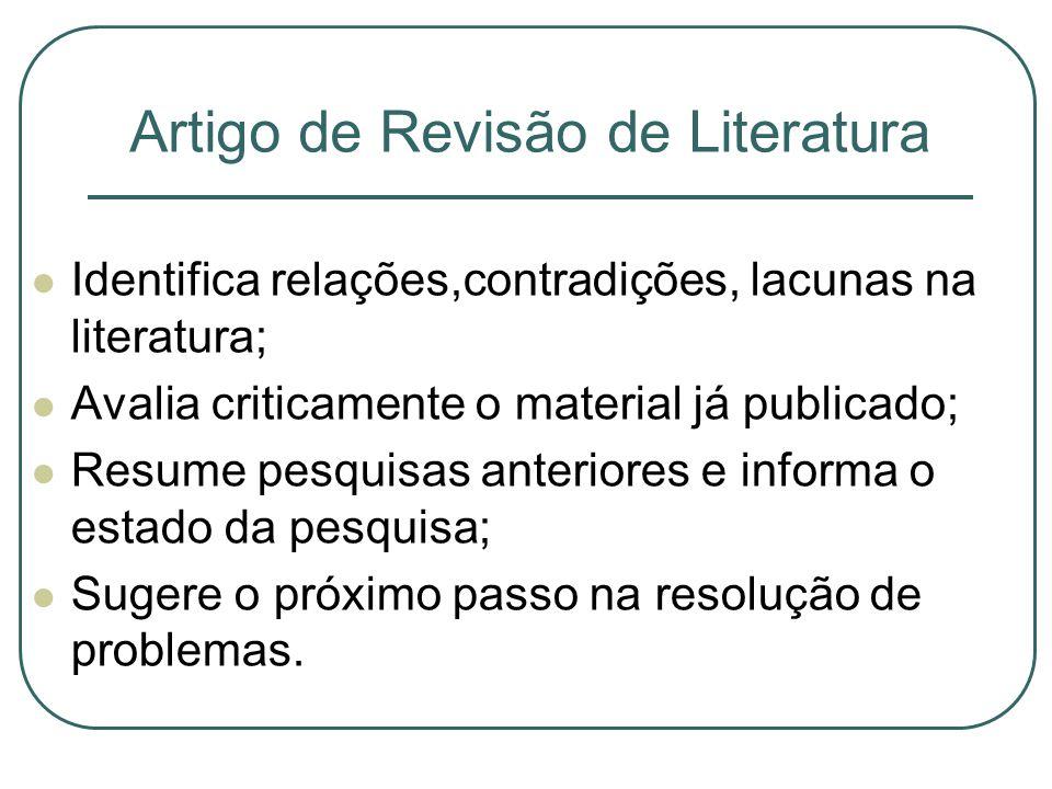 Artigo de Revisão de Literatura Identifica relações,contradições, lacunas na literatura; Avalia criticamente o material já publicado; Resume pesquisas