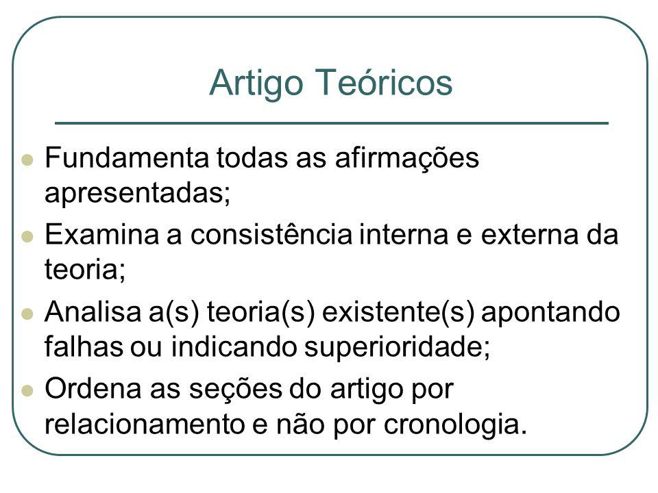 Artigo Teóricos Fundamenta todas as afirmações apresentadas; Examina a consistência interna e externa da teoria; Analisa a(s) teoria(s) existente(s) apontando falhas ou indicando superioridade; Ordena as seções do artigo por relacionamento e não por cronologia.