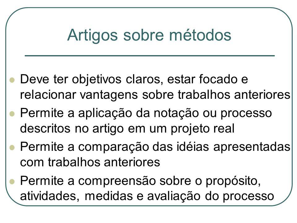 Artigos sobre métodos Deve ter objetivos claros, estar focado e relacionar vantagens sobre trabalhos anteriores Permite a aplicação da notação ou proc