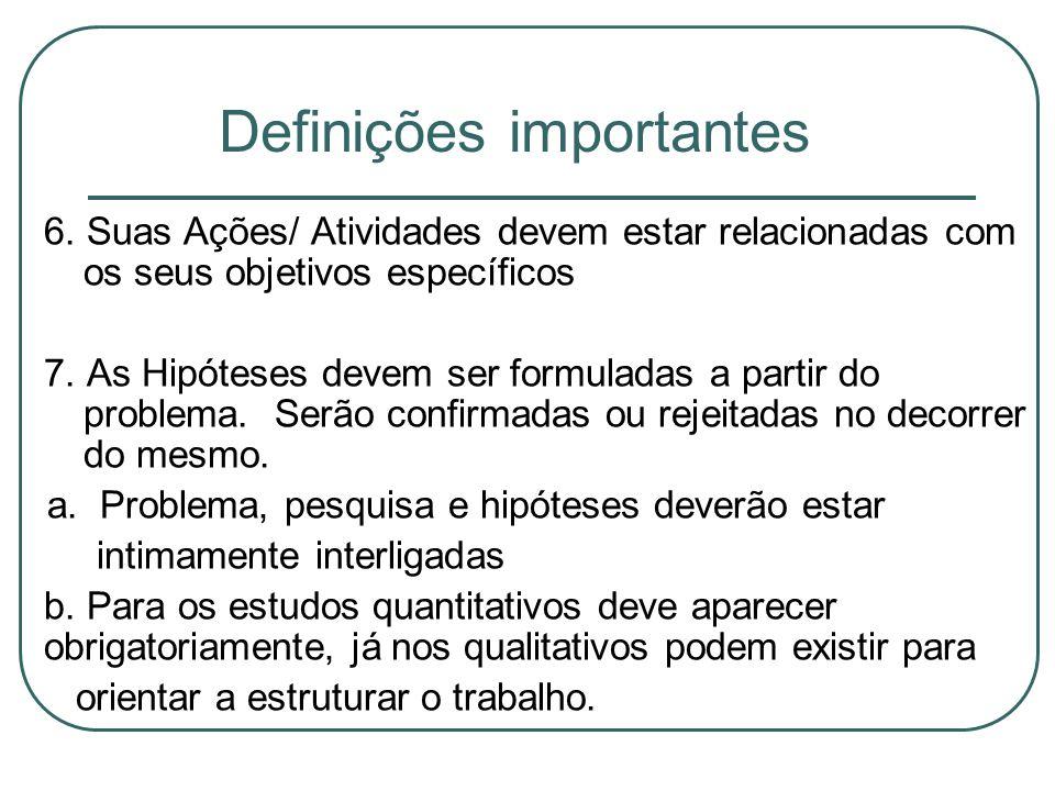 Definições importantes 6. Suas Ações/ Atividades devem estar relacionadas com os seus objetivos específicos 7. As Hipóteses devem ser formuladas a par