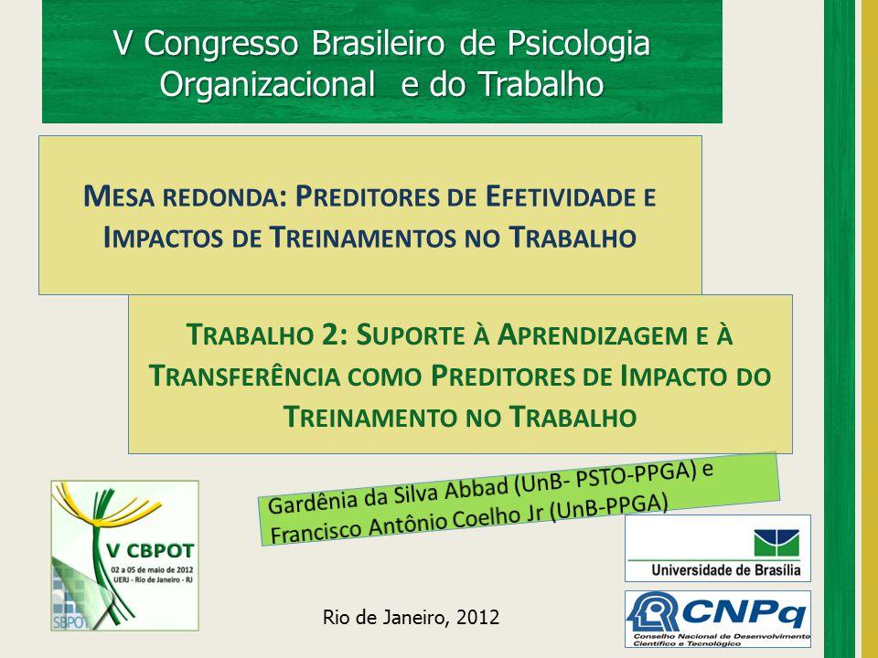 V Congresso Brasileiro de Psicologia Organizacional e do Trabalho Rio de Janeiro, 2012 T RABALHO 2: S UPORTE À A PRENDIZAGEM E À T RANSFERÊNCIA COMO P