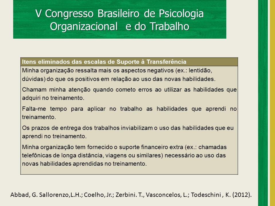 V Congresso Brasileiro de Psicologia Organizacional e do Trabalho Abbad, G. Sallorenzo,L.H.; Coelho, Jr.; Zerbini. T., Vasconcelos, L.; Todeschini, K.