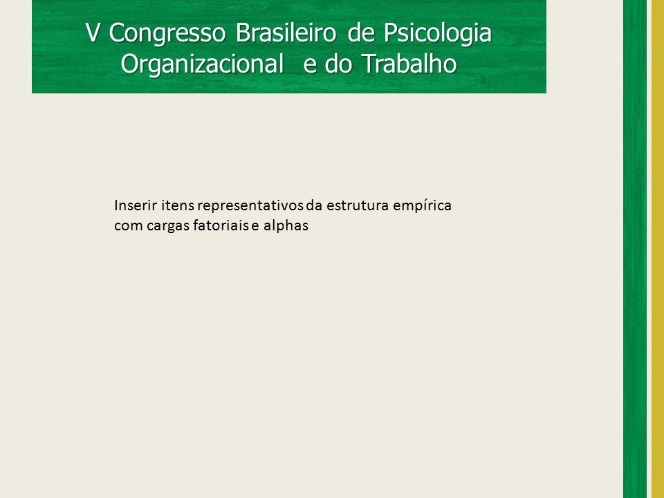 V Congresso Brasileiro de Psicologia Organizacional e do Trabalho Inserir itens representativos da estrutura empírica com cargas fatoriais e alphas