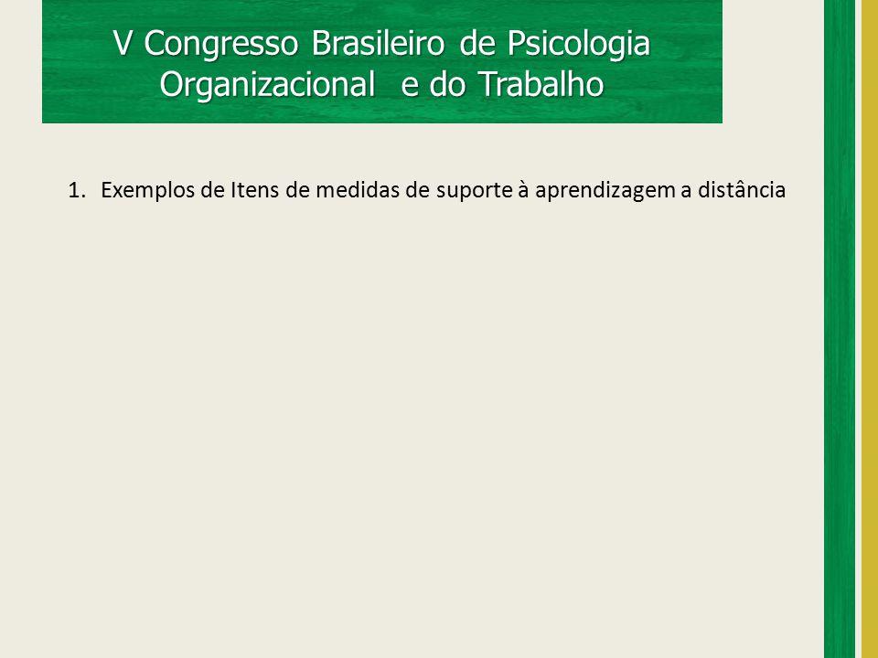 V Congresso Brasileiro de Psicologia Organizacional e do Trabalho 1.Exemplos de Itens de medidas de suporte à aprendizagem a distância