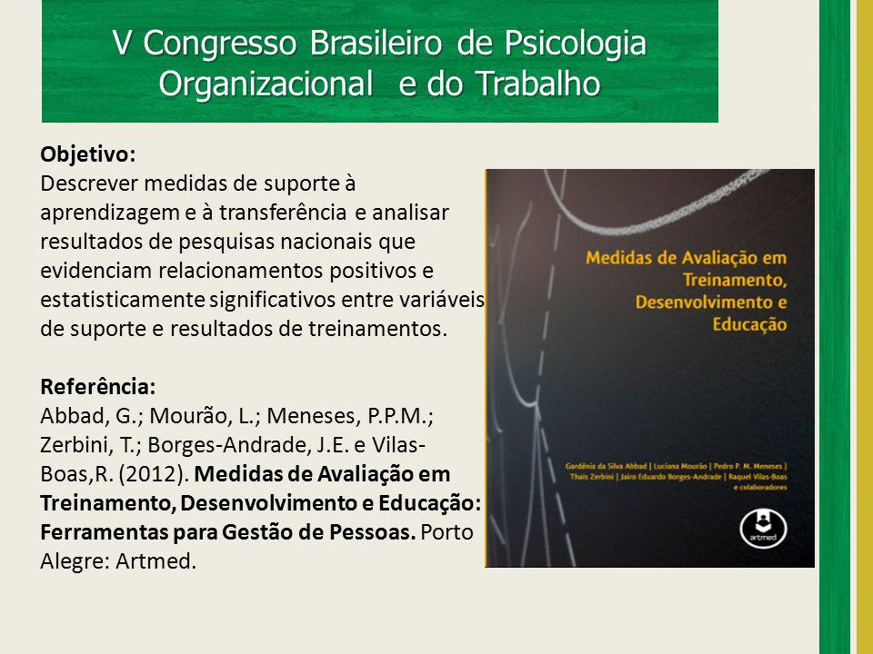 V Congresso Brasileiro de Psicologia Organizacional e do Trabalho Objetivo: Descrever medidas de suporte à aprendizagem e à transferência e analisar r