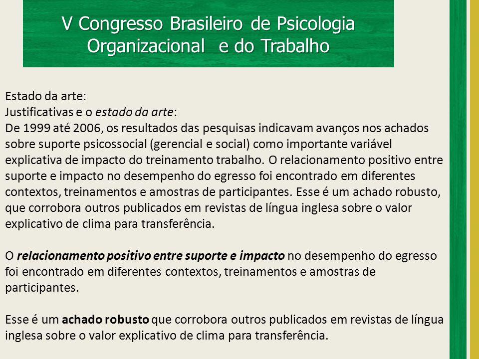 V Congresso Brasileiro de Psicologia Organizacional e do Trabalho Estado da arte: O relacionamento positivo entre suporte e impacto no desempenho do egresso foi encontrado em diferentes contextos, treinamentos e amostras de participantes.
