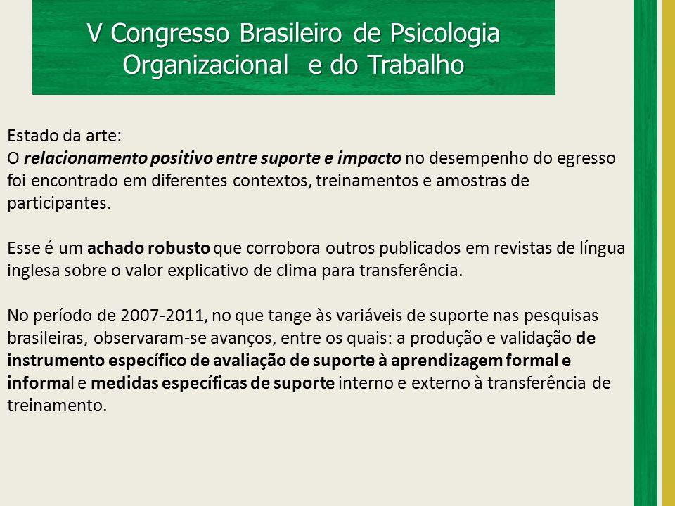 V Congresso Brasileiro de Psicologia Organizacional e do Trabalho Tendências e evidências recentes: As variáveis que exercem influência proximal e direta sobre transferência variam de acordo com o treinamento e nível de análise.