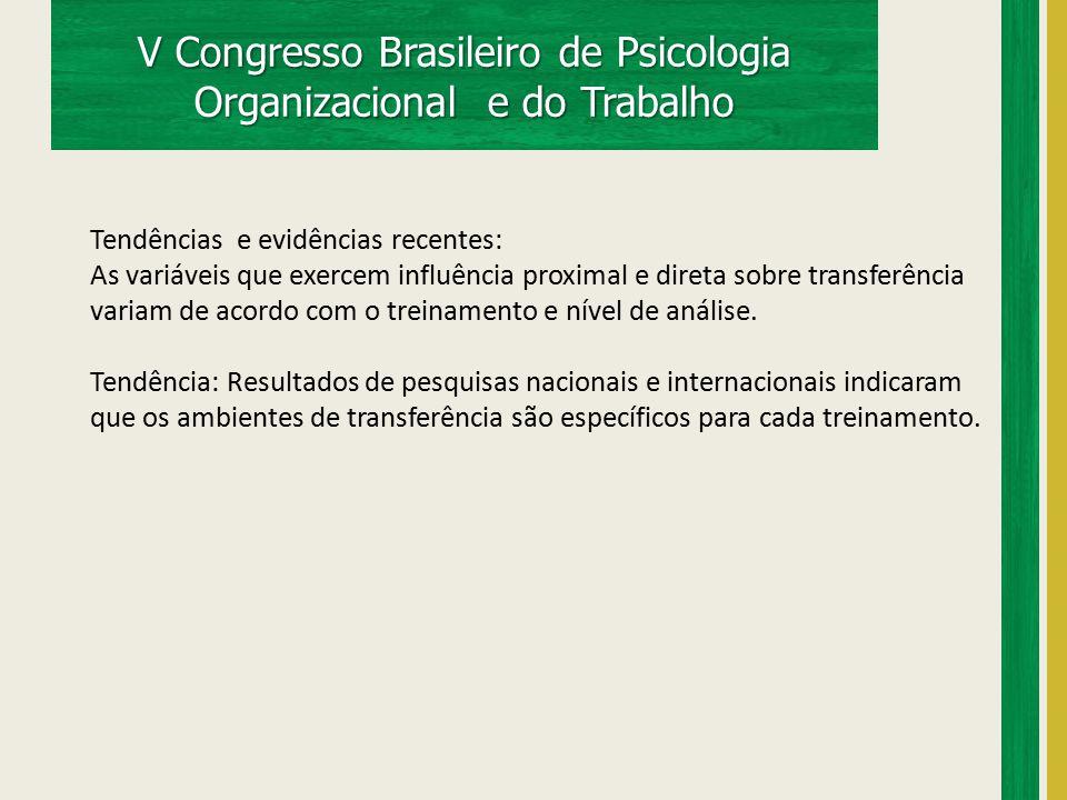 V Congresso Brasileiro de Psicologia Organizacional e do Trabalho Tendências e evidências recentes: As variáveis que exercem influência proximal e dir