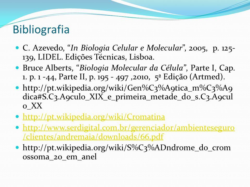 "Bibliografia C. Azevedo, ""In Biologia Celular e Molecular"", 2005, p. 125- 139, LIDEL. Edições Técnicas, Lisboa. Bruce Alberts, ""Biologia Molecular da"