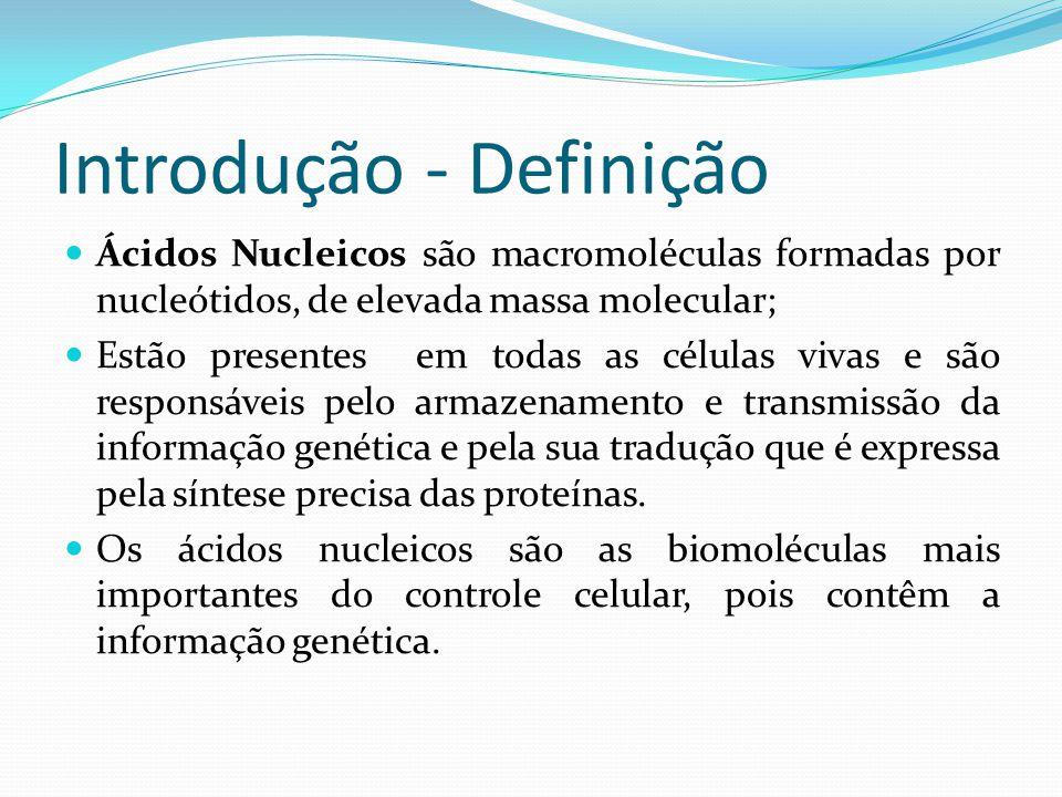 Introdução - Definição Ácidos Nucleicos são macromoléculas formadas por nucleótidos, de elevada massa molecular; Estão presentes em todas as células vivas e são responsáveis pelo armazenamento e transmissão da informação genética e pela sua tradução que é expressa pela síntese precisa das proteínas.