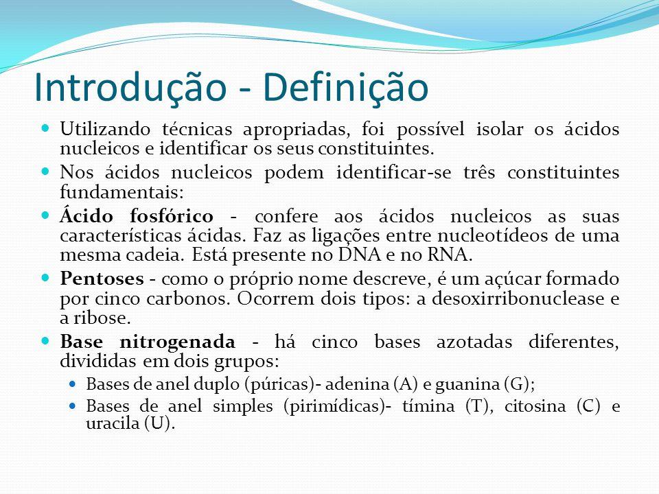 Introdução - Definição Utilizando técnicas apropriadas, foi possível isolar os ácidos nucleicos e identificar os seus constituintes.