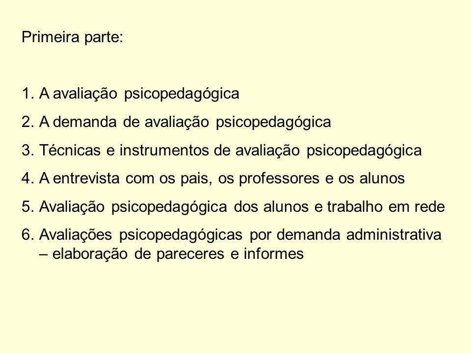 Primeira parte: 1.A avaliação psicopedagógica 2.A demanda de avaliação psicopedagógica 3.Técnicas e instrumentos de avaliação psicopedagógica 4.A entrevista com os pais, os professores e os alunos 5.Avaliação psicopedagógica dos alunos e trabalho em rede 6.Avaliações psicopedagógicas por demanda administrativa – elaboração de pareceres e informes