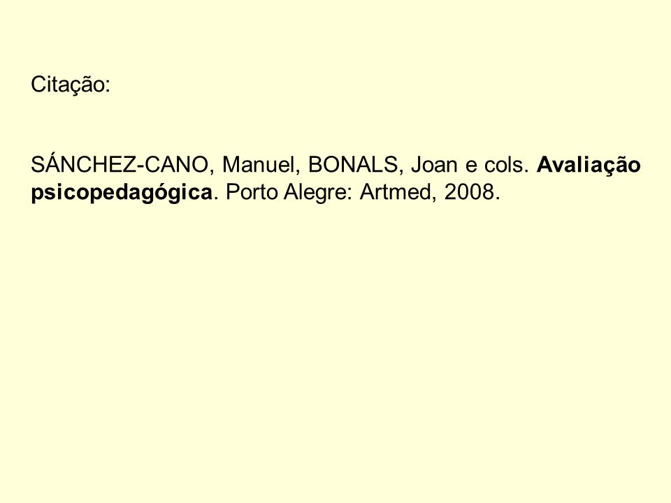 Citação: SÁNCHEZ-CANO, Manuel, BONALS, Joan e cols.