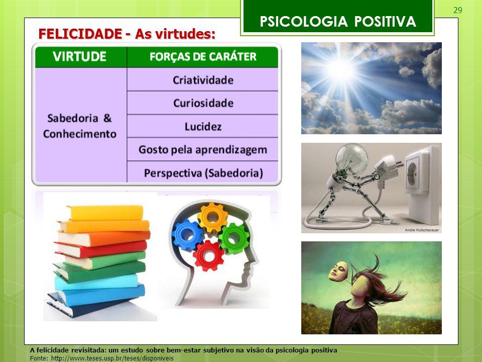 29 PSICOLOGIA POSITIVA A felicidade revisitada: um estudo sobre bem-estar subjetivo na visão da psicologia positiva Fonte: http://www.teses.usp.br/tes