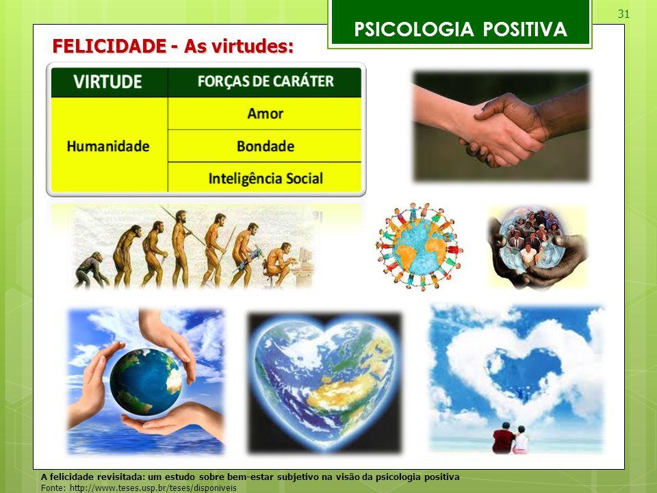 31 PSICOLOGIA POSITIVA A felicidade revisitada: um estudo sobre bem-estar subjetivo na visão da psicologia positiva Fonte: http://www.teses.usp.br/tes