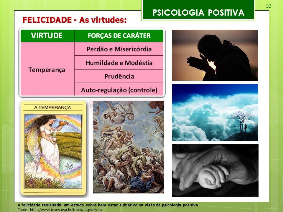 33 PSICOLOGIA POSITIVA A felicidade revisitada: um estudo sobre bem-estar subjetivo na visão da psicologia positiva Fonte: http://www.teses.usp.br/tes