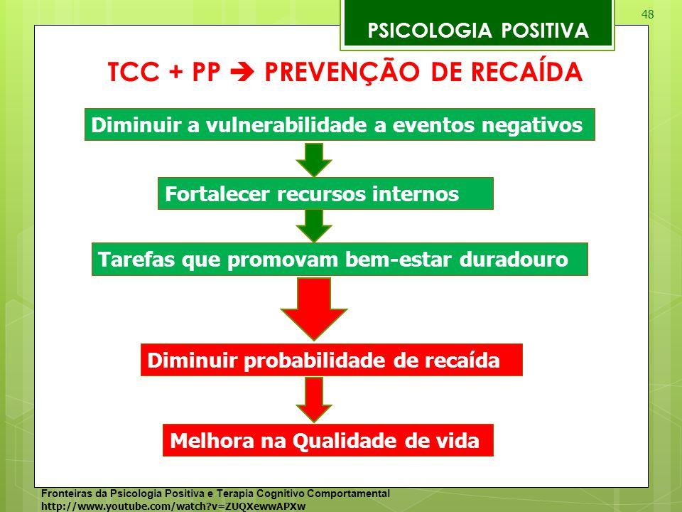 48 PSICOLOGIA POSITIVA TCC + PP  PREVENÇÃO DE RECAÍDA Fronteiras da Psicologia Positiva e Terapia Cognitivo Comportamental http://www.youtube.com/wat