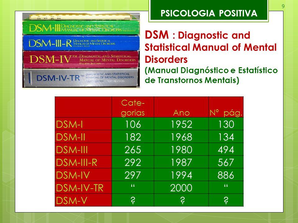 9 PSICOLOGIA POSITIVA DSM : Diagnostic and Statistical Manual of Mental Disorders (Manual Diagnóstico e Estatístico de Transtornos Mentais) Cate- gori