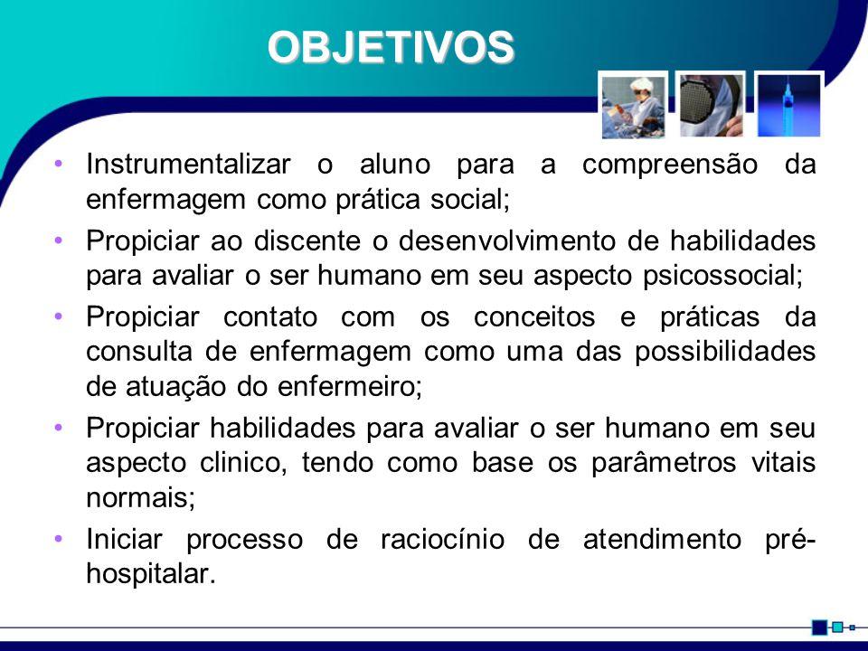 OBJETIVOS Instrumentalizar o aluno para a compreensão da enfermagem como prática social; Propiciar ao discente o desenvolvimento de habilidades para a