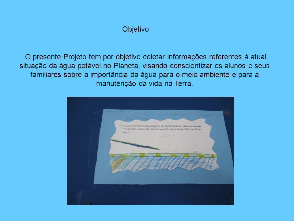 O presente Projeto tem por objetivo coletar informações referentes à atual situação da água potável no Planeta, visando conscientizar os alunos e seus