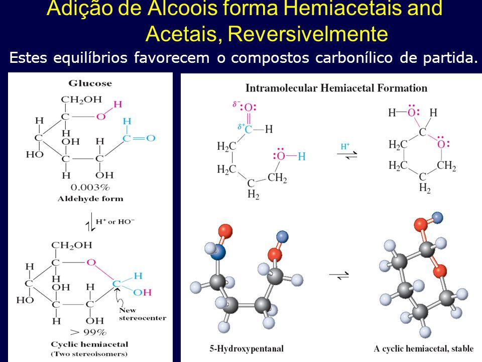 Adição de Álcoois forma Hemiacetais and Acetais, Reversivelmente Estes equilíbrios favorecem o compostos carbonílico de partida.