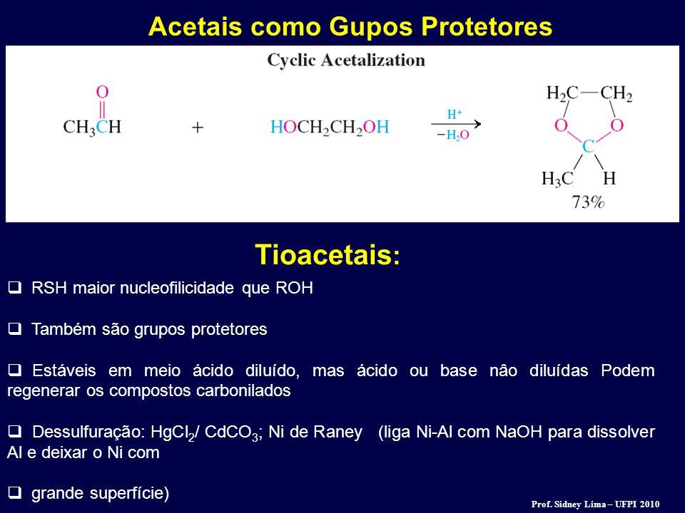Acetais como Gupos Protetores  RSH maior nucleofilicidade que ROH  Também são grupos protetores  Estáveis em meio ácido diluído, mas ácido ou base