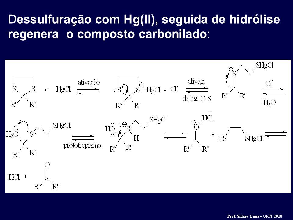 Dessulfuração com Hg(II), seguida de hidrólise regenera o composto carbonilado: Prof. Sidney Lima – UFPI 2010