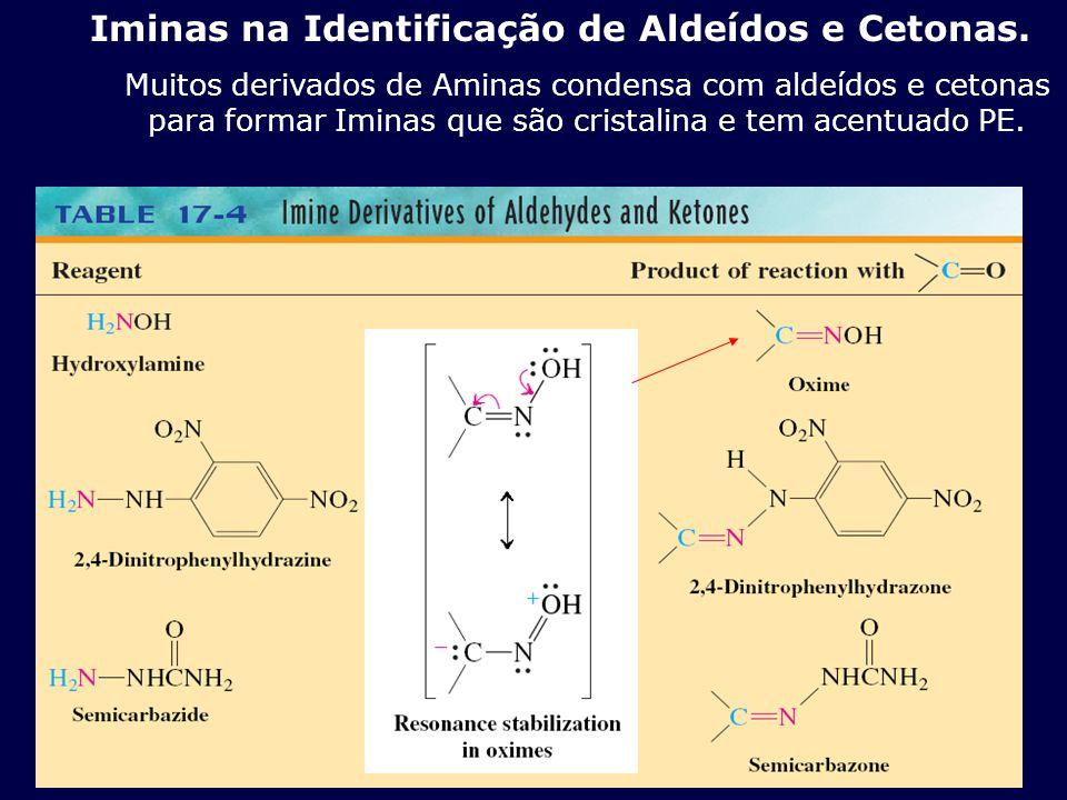 Iminas na Identificação de Aldeídos e Cetonas. Muitos derivados de Aminas condensa com aldeídos e cetonas para formar Iminas que são cristalina e tem