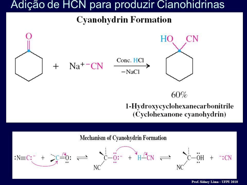 Adição de HCN para produzir Cianohidrinas Prof. Sidney Lima – UFPI 2010