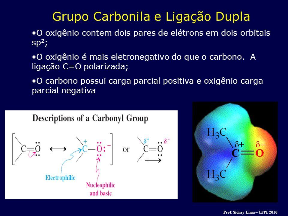 Grupo Carbonila e Ligação Dupla O oxigênio contem dois pares de elétrons em dois orbitais sp 2 ; O oxigênio é mais eletronegativo do que o carbono. A