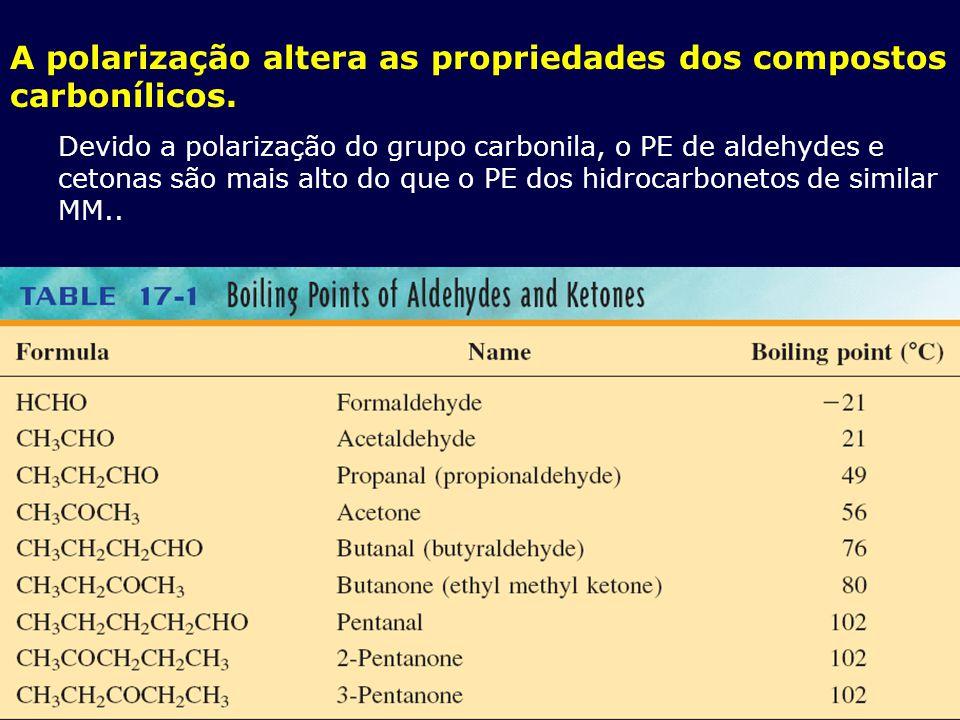 A polarização altera as propriedades dos compostos carbonílicos. Devido a polarização do grupo carbonila, o PE de aldehydes e cetonas são mais alto do