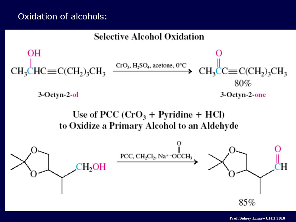 Oxidation of alcohols: Prof. Sidney Lima – UFPI 2010