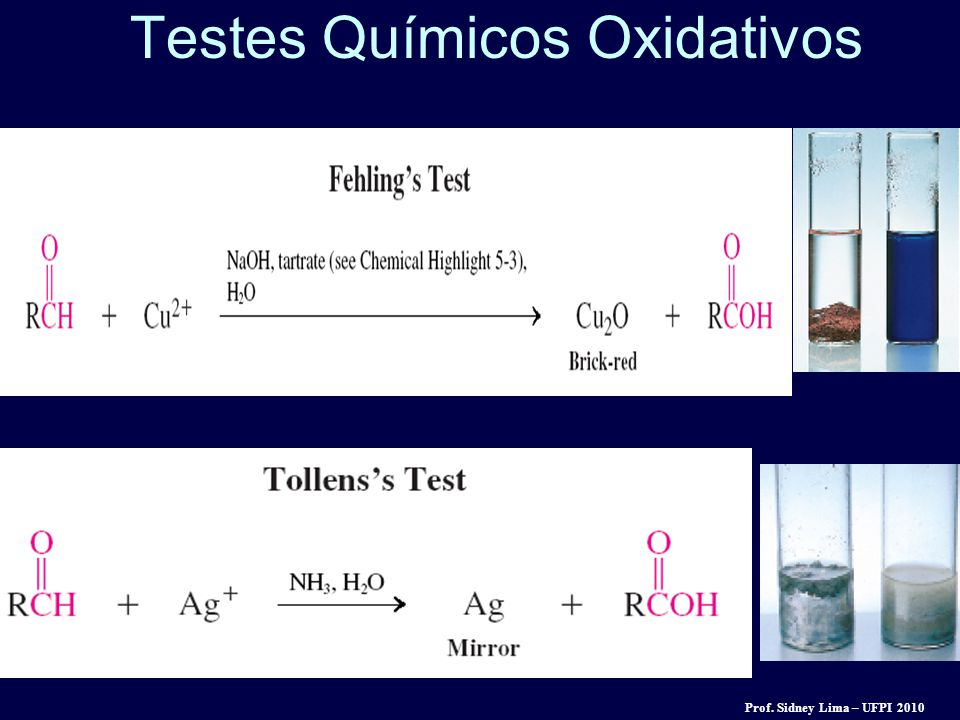 Testes Químicos Oxidativos Prof. Sidney Lima – UFPI 2010