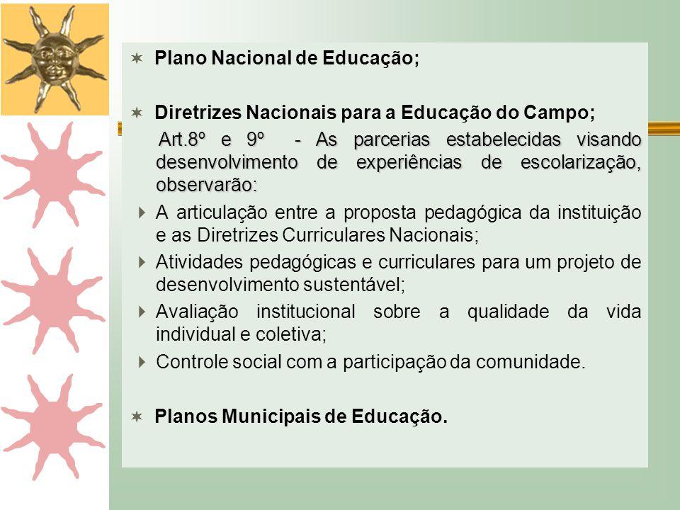  Plano Nacional de Educação;  Diretrizes Nacionais para a Educação do Campo; Art.8º e 9º - As parcerias estabelecidas visando desenvolvimento de exp