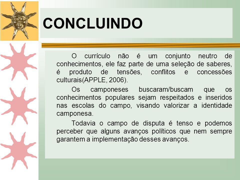 CONCLUINDO O currículo não é um conjunto neutro de conhecimentos, ele faz parte de uma seleção de saberes, é produto de tensões, conflitos e concessões culturais(APPLE, 2006).