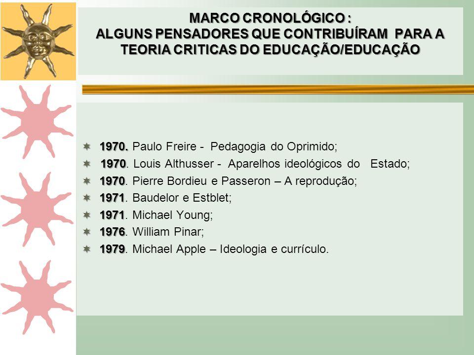 MARCO CRONOLÓGICO : ALGUNS PENSADORES QUE CONTRIBUÍRAM PARA A TEORIA CRITICAS DO EDUCAÇÃO/EDUCAÇÃO  1970.  1970. Paulo Freire - Pedagogia do Oprimid