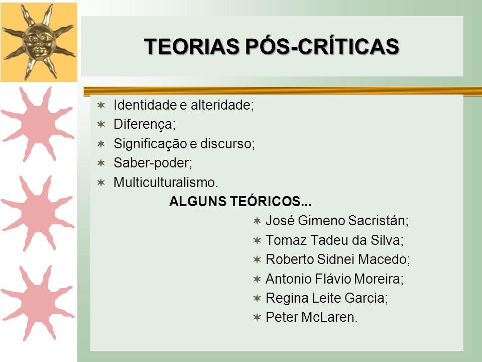 TEORIAS PÓS-CRÍTICAS  Identidade e alteridade;  Diferença;  Significação e discurso;  Saber-poder;  Multiculturalismo.